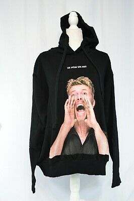 IH NOM UH NIT David Bowie Black Distressed Hoodie Size Medium New