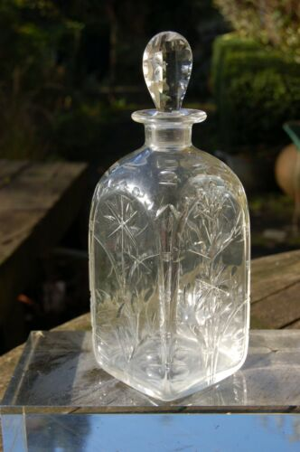 Early 20th century Whitefriars Harry Powell Spanish shallow cut square decanter