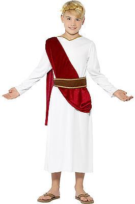 Boys Roman Emperor Ancient Greek Toga Caesar Fancy Dress Costume Outfit Age 4-12