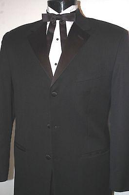 Black Tuxedo Coat Notch Lapel Tropical Wool Closeouts Costume Western Wedding