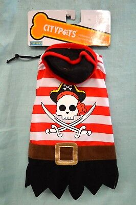 NEW Halloween DOG Outfit PIRATE Cape COSTUME SMALL Doggie Citypets RED Black ](Dog Pirate Outfit)