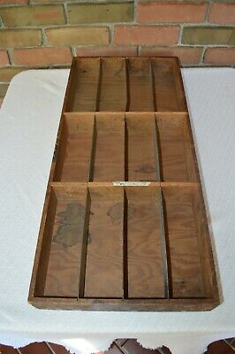 Antique 9 Compartment Galvanized Divided Hardware Tray 27 3/4