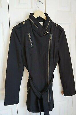 MICHAEL MICHAEL KORS Women's Hidden Hood Black Trench Rain Coat Size M