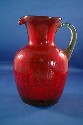 """Old Ruby Red Hand Blown Crackle Glass Pitcher 6"""" Amber Handle Pontil Signed"""