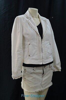 WHBM WHITE HOUSE BLACK MARKET JACKET BLAZER cotton blnd moto zip chic size 4 S Chic Cotton Moto Jacket