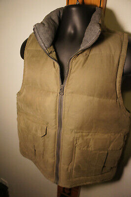 VTG Abercrombie & Fitch Mens S Military Drab Goose Down Puffer Vest Vintage  o62