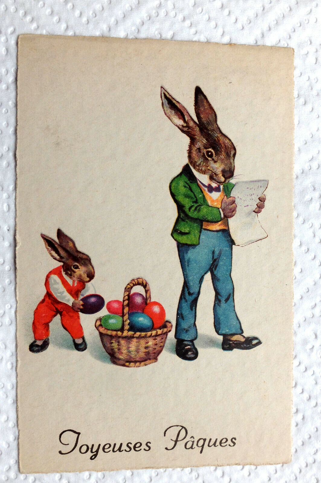 carte postale Pâques lapins - Easter postcard rabbits
