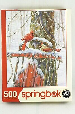 Springbok Jigsaw Puzzle Peaceful Moments 500 Pieces Complete - Red Cardinal Bird