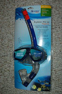 Wave Sports Explorer MS Mask & Snorkel Set (Blue) - Beginner