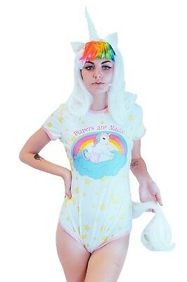 Adult Baby Diaper Lover Snap Crotch Romper Pajamas -Baby Unicorn For big Baby - Romper Adult