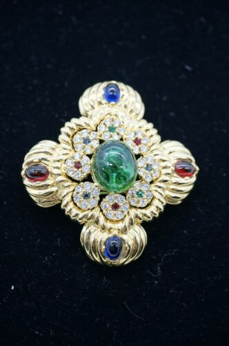 Large Ciner Jewels Of India Cabochon and Rhinestone Brooch