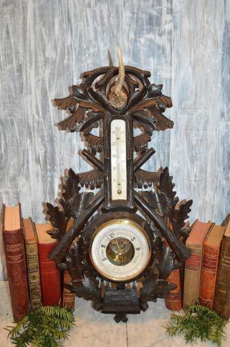 Rare Antique Large German Carved Black Forest Barometer Hunt Themed Deer Antler