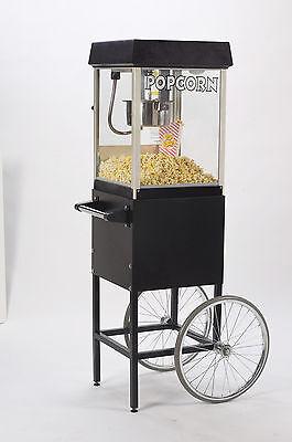 New Black Fun Pop 4 Oz. Popcorn Machine Matching Cart