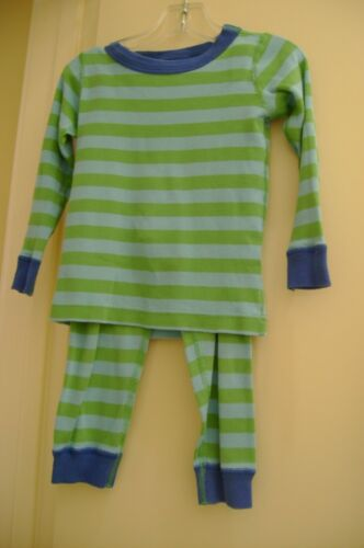 Hanna Andersson blue & green striped organic cotton pajama set     90   3 US