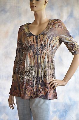 APT 9 Sz M Casual Shirt Blouse Knit Top Tunic Flannel-Like Soft Greens Browns