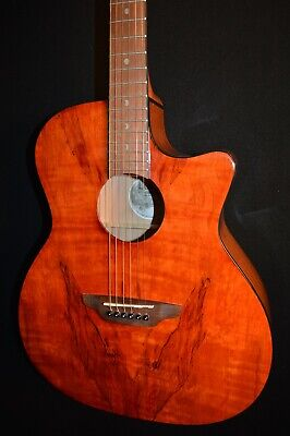 Luna Gypsy Exotic Spalt Gloss Natural Acoustic ELECTRIC Guitar - Free Shipping!
