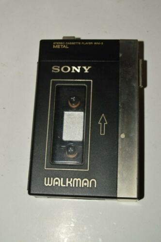 Vintage SONY WM-3 Stereo Cassette Player Metal Walkman w/ Case NEEDS FIX Rare
