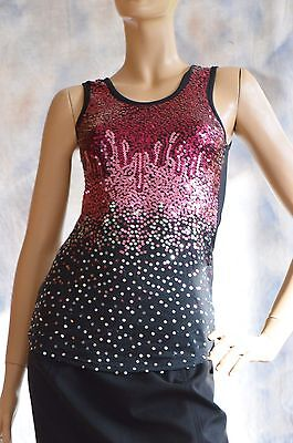 NWT RUE 21 Sz S Shirt Blouse Knit Top Tunic Ombre Sequin Poly Spandex Red Black
