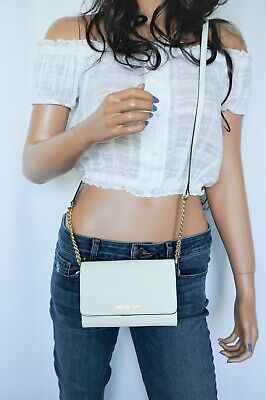 MICHAEL KORS JET SET TRAVEL LG PHONE CROSSBODY SAFFIANO LEATHER BAG CLUTCH WHITE