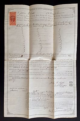 RARE ANTIQUE 1867 ILLINOIS MORTGAGE DOCUMENT COLLECTIBLE GEORGE WASHINGTON STAMP