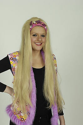 Lange Haare Junge Kostüme (Perücke lang blond Langhaar 70er Stirnband für Kostüm Hippie Meerjungfrau)