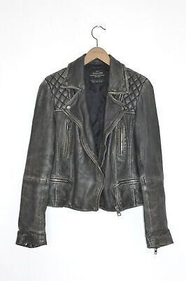 *STUNNING* AllSaints Ladies CARGO leather Biker Jacket UK10 US6 EU38 Black B