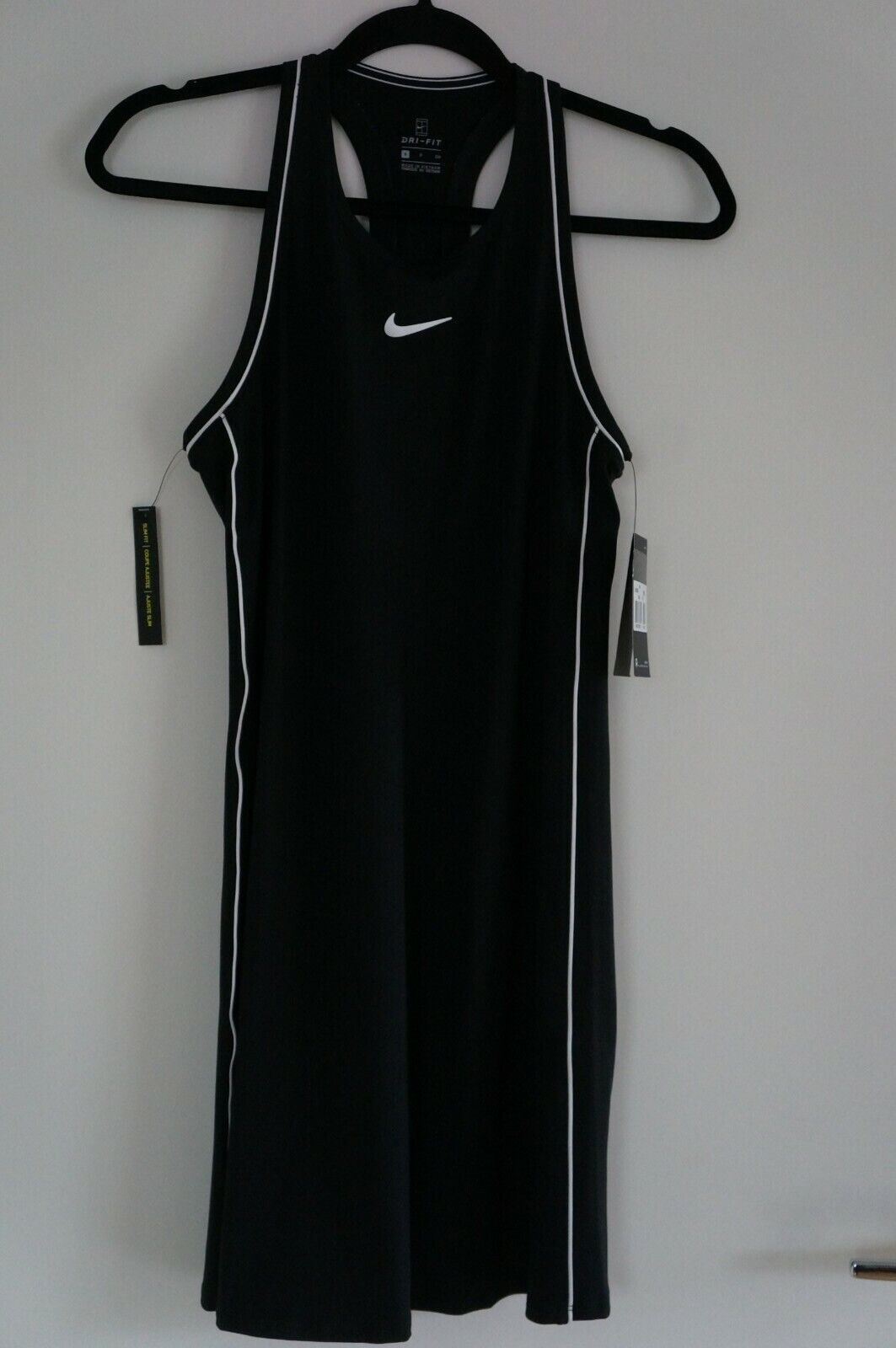 Nike Court Damen Tennis Kleid Schwarz / Weiß Größe S Klassisch - NEU - Fein