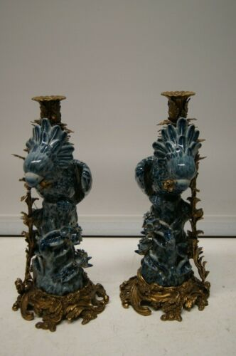Pair French Porcelain Parrot Candlesticks Candelabras