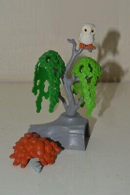 Playmobil Wildlife Safari Jungle Garden Tree Stump Plant Owl, Mouse Scenery Grey