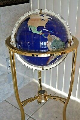 Lapis Gemstone Mosaic Tile World Globe Brass Floor Stand, Semi-Precious -
