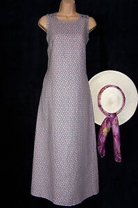 LAURA ASHLEY VINTAGE LILAC ROSES DITSY LINEN SLIP-ON MAXI PINAFORE DRESS NEW 18