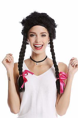 Perücke Damen Karneval krause Locken schwarz lange geflochtene Zöpfe wild Hippie ()