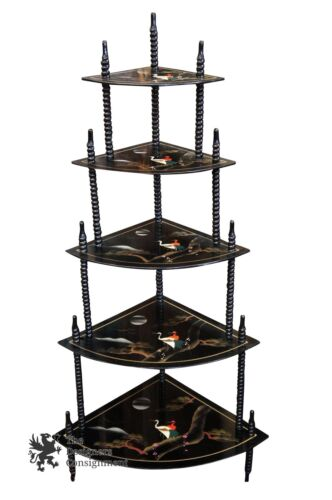 Black Lacquer Japanese Tiered Corner Display Painted Cranes Etagere Oriental
