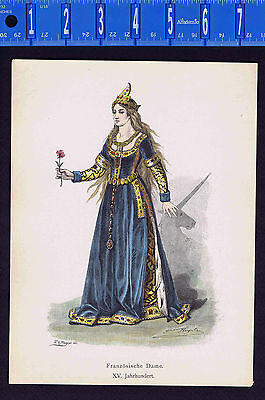 French Lady of Rank 15th Century Costume/Fashion - 1880s Color Antique Print