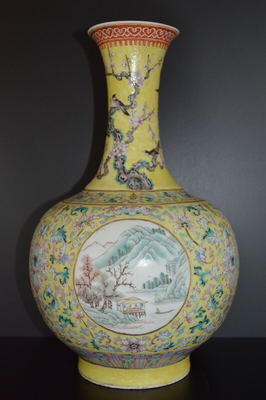 Antique Chinese Yellow Ground Famille Rose Vase, 18th Century Chinese Antique - $2,200.00
