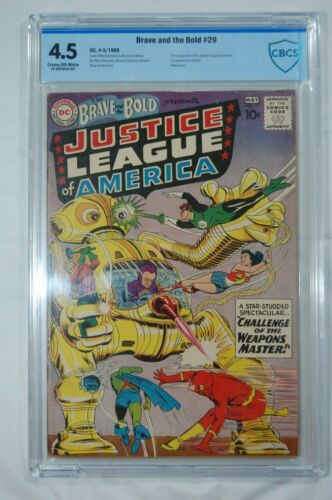 BRAVE & THE BOLD #29 2ND JUSTICE LEAGUE CBCS 4.5 CR/OW PAGES