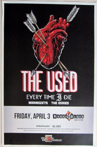 THE USED /EVERY TIME I DIE /MARMOZETS /EERIES 2015 SAN DIEGO CONCERT TOUR POSTER