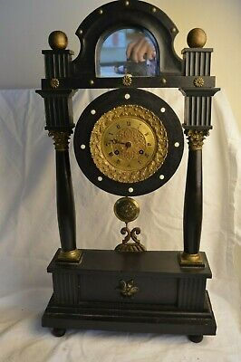 ANTIQUE FRENCH PONS PORTICO PILLAR COLUMN BLACK EBONY 8 DAY MANTLE CLOCK MIRROR Column Mantle Clock