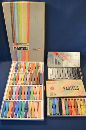 3 BOX VINTAGE WEBER COSTELLO PASTELS,3 BOXES,GRAY TONES,ALPHACOLOR & 48 CT,USED