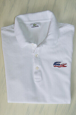 LACOSTE MENS AMERICAN FLAG LOGO POLO SHIRT WHITE SIZE 5 / M FITTED COTTON TOP for sale  Shipping to South Africa