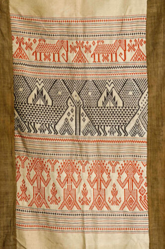 Old ethnic handmade brocade textile with figures and elephants, Laos 1960