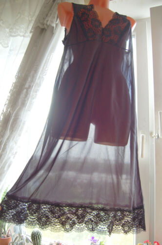 VINTAGE BLACK  ULTRA SHEER SOFT SEE THROUGH SOFT NYLON SLIP SISSY TV CD L