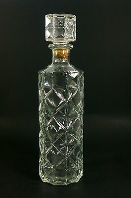 Mid Century Glass Liquor Decanter Daisy And Diamond Round Barware Bottle