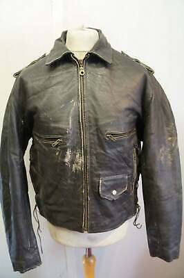 Vintage 80's Distressed Rugby USA Cowhide Leather Motorcycle Jacket Size M