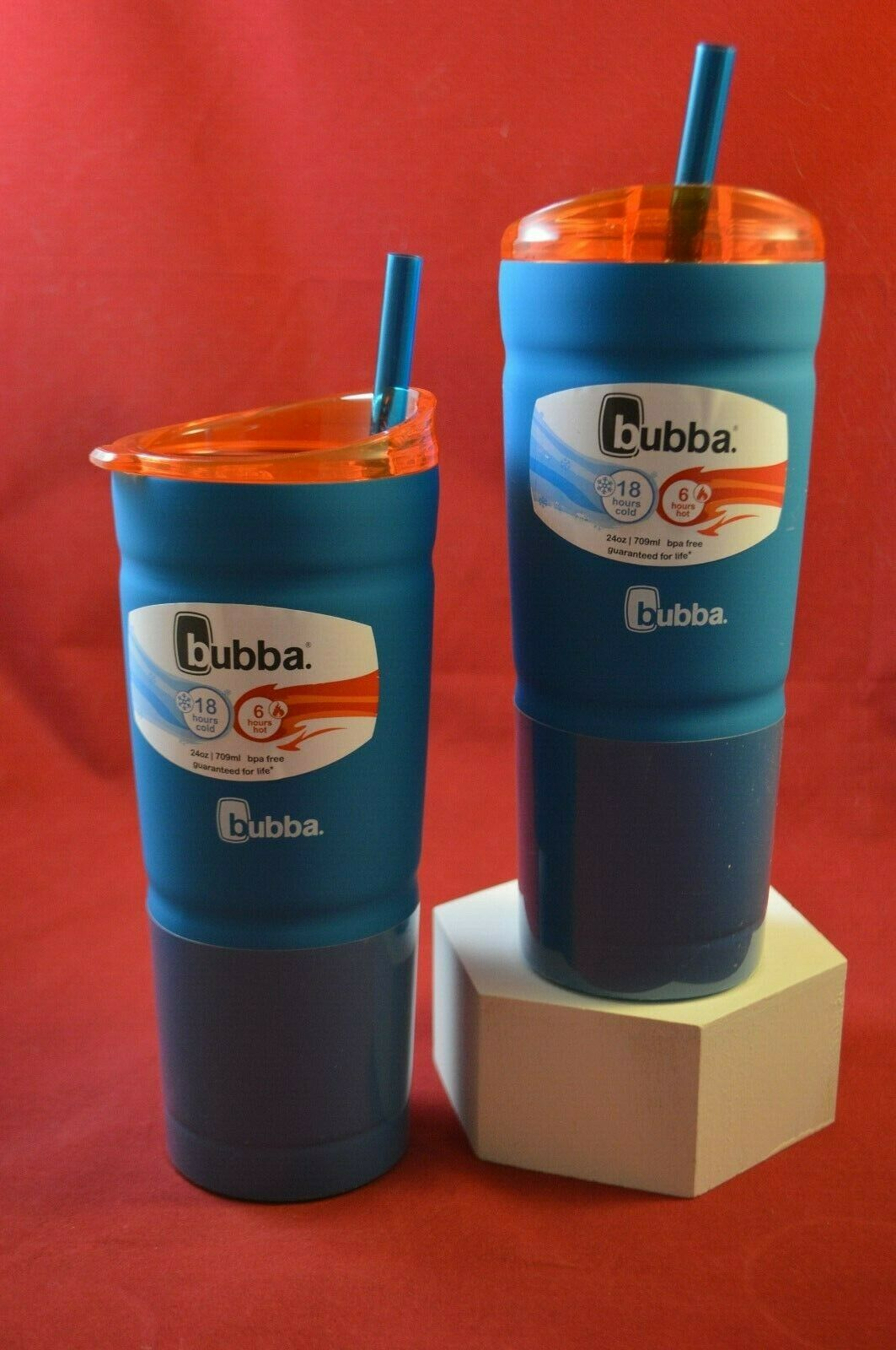 TWO NEW BUBBA RUBBERIZED 24 OZ TUMBLER WITH LID AND STRAW
