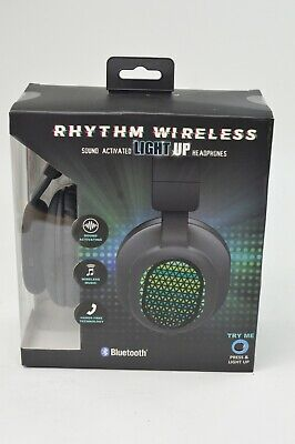 Rhythm Wireless Sound Activated  Light Up Headphones New Sealed Up X Pattern