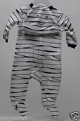 Halloween Carter's White Black Stripe My Mummy Loves Me Sleeper & Hat Newborn