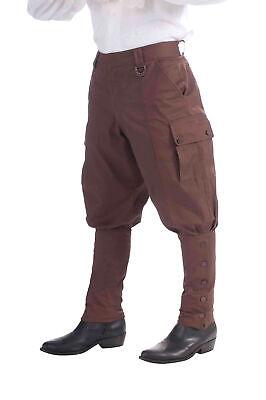 Adults 1920s Steampunk Victorian Fancy Dress Costume Brown Trousers Pants Breech