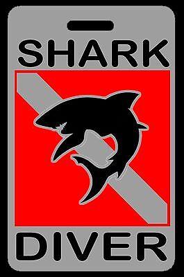 Scuba Diver Silhouette (Gray Shark Diver w/ Silhouette SCUBA Diving Luggage/Gear Bag Tag -)