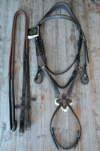 New Royal Brand Fancy Stitched Figure 8 Bridle w Rubber Reins Horse Size